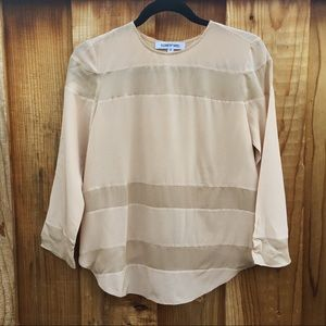 Elizabeth & James Split Back Nude Silk Blouse XS
